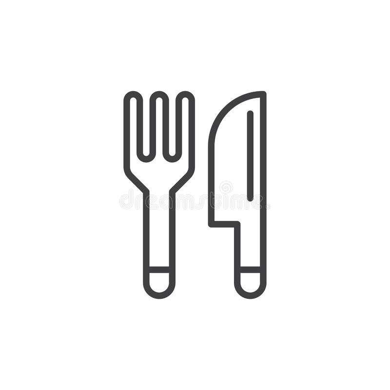 Fork and knife, Cutlery line icon, outline vector sign, linear style pictogram isolated on white. vector illustration