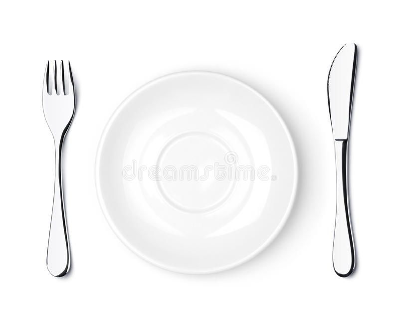 Download Fork, Knife And Empty White Plate Stock Photo - Image: 15623086