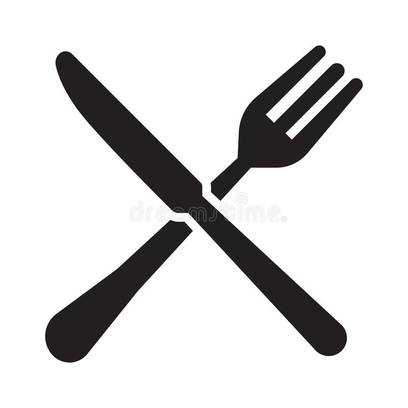 Fork and knife icons. Cutlery symbol stock image
