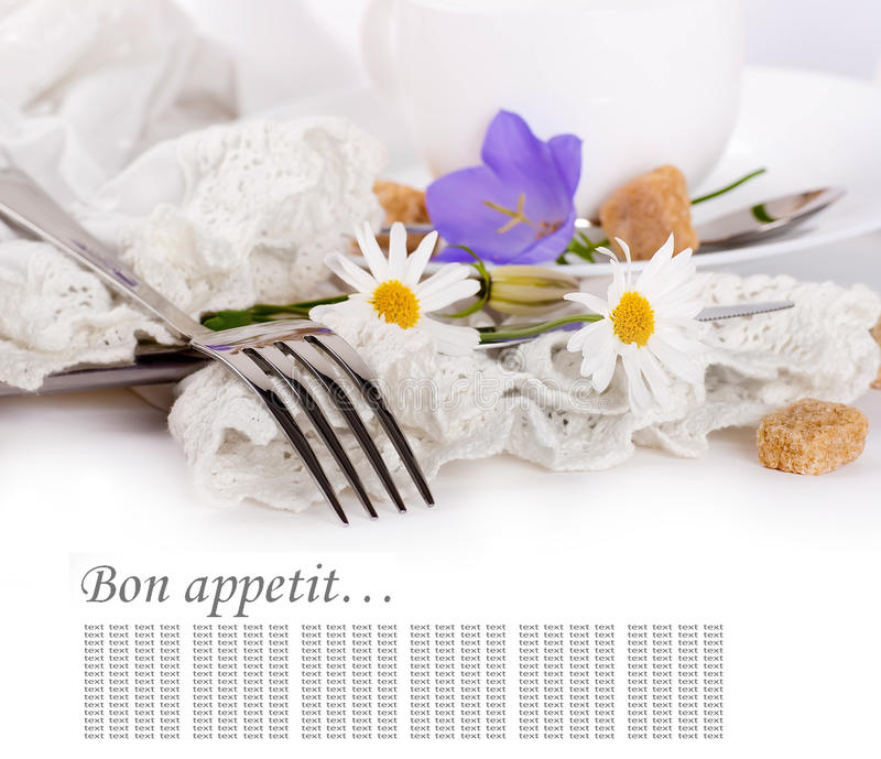 Download Fork And Knife In A Napkin, Flower Stock Image - Image: 25316225