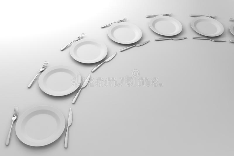 Fork, Knife and Plate aligned. On white background stock illustration