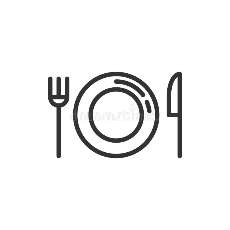 Fork, knife and plate icon in flat style. Restaurant vector illustration on white isolated background. Dinner business concept vector illustration
