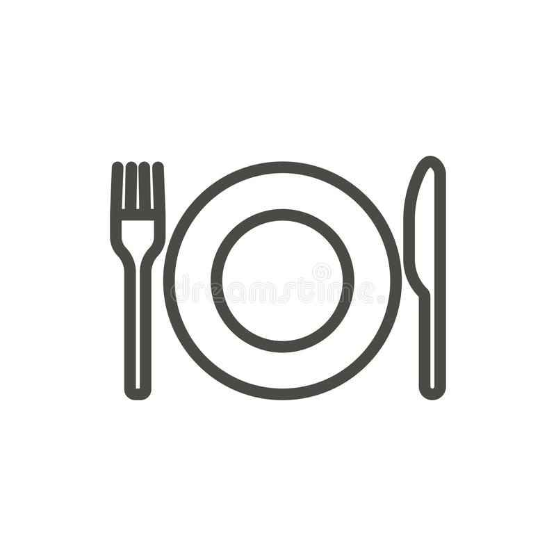 Fork knife and plate icon vector. Line eat symbol isolated. Trendy flat outline ui sign design. Thi. N linear dinner graphic pictogram for web site, mobile app vector illustration