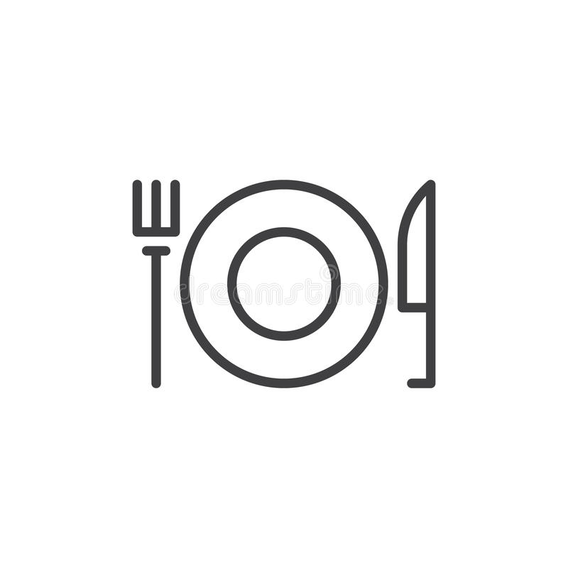 Fork and Knife With Plate line icon, outline vector sign, linear style pictogram isolated on white. Restaurant symbol, logo illustration. Editable stroke vector illustration
