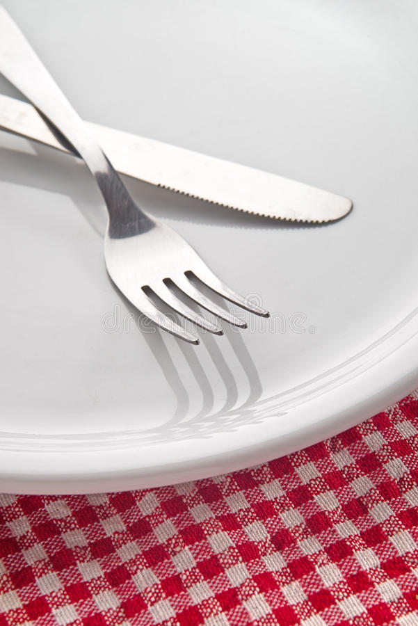 Download Fork and knife on plate stock image. Image of nutrition - 31326133