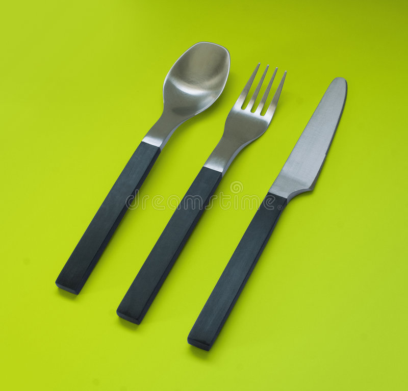 Fork, knife and spoon stock image