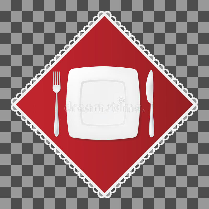 Fork and knife with a square plate on red napkin. Cutlery and dish table setting. Vector illustraion. stock illustration
