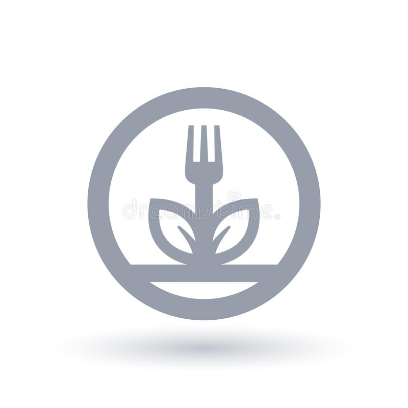 Fork And Leaf Plant Icon Vegan Plant Diet Symbol Stock Vector