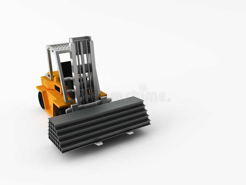 Fork-lift truck. Carry his cargo on a white background royalty free illustration