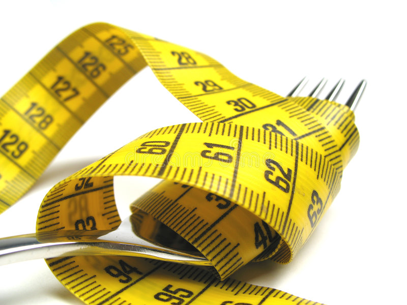 Fork and measuring tape stock photos