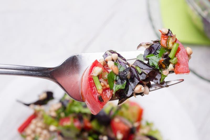 Fork met vegetarische verse sla met groenten, kruiden en spruiten van boekweit prachtig geserveerd in de transportkom op wit royalty-vrije stock afbeelding