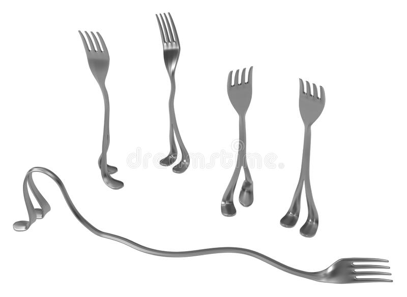 Fork Metal Legs, Lazy One. Fork metal with legs, lazy one, 3d illustration, horizontal, isolated, over white vector illustration