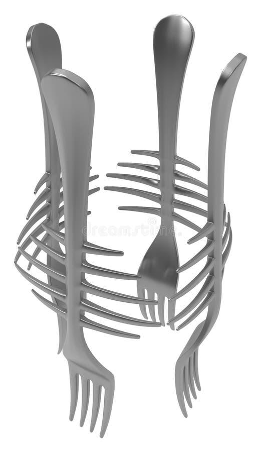 Fork Metal, Ribs Cage. Fork metal ribs cage, 3d illustration, vertical, isolated, over white stock illustration