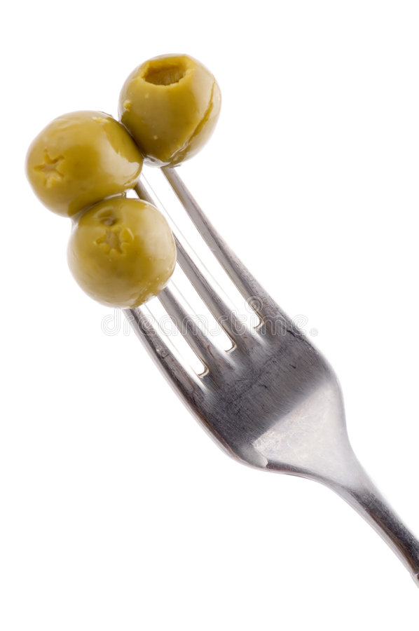 Fork with olive stock photos