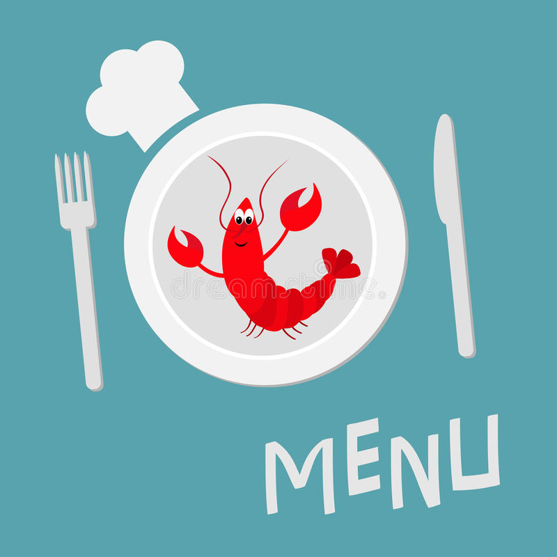 Fork, plate, knife and chefs hat. Lobster with claw. Cute cartoon character. Seafood menu sign symbol. Funny sea ocean animal. Fla stock illustration