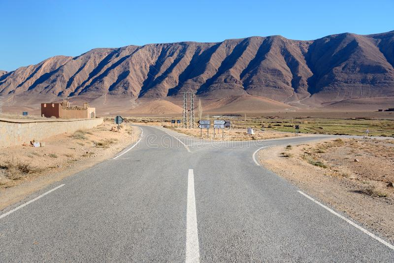 Fork in the road. Morocco. Fork in the road to Assoul, Rich or Tinghir, Errachibia. Morocco stock photos