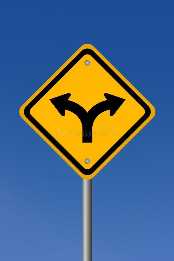 Fork road sign. On blue sky royalty free illustration