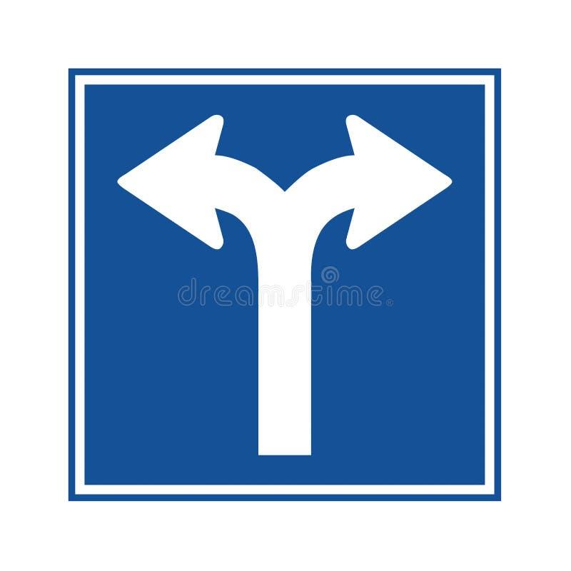 Fork in road traffic sign stock illustration