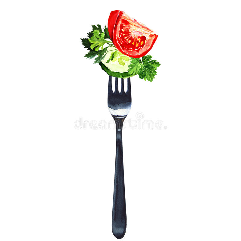 Fork with salad from vegetables isolated, white stock photo