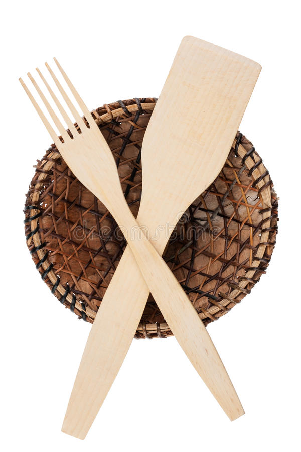 Fork, shovel and a plate of coke leaves royalty free stock photography