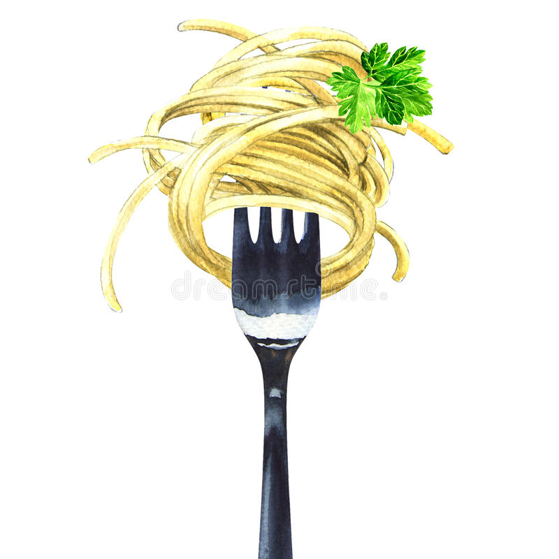 Fork with spaghetti, noodles, pasta, green parsley, isolated, watercolor illustration. Fork with spaghetti, noodles, pasta with green parsley, isolated stock images