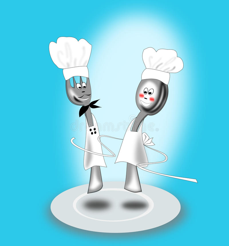 Fork and spoon animated royalty free stock photography