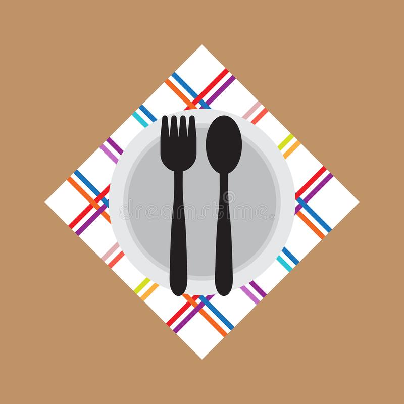 Fork Spoon bowl icon flat style. Vector. Illustration. royalty free illustration