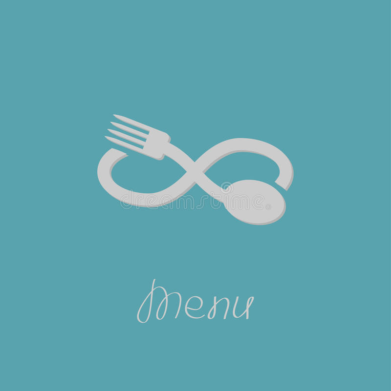 Fork, spoon and infinity sign. Menu card. Flat design style. stock illustration