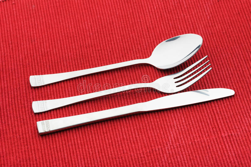 Fork spoon and knife. On white background stock photo