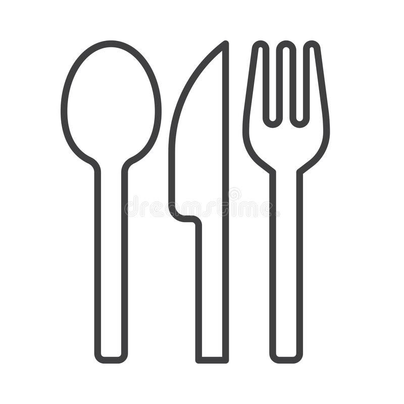 Fork spoon and knife line icon, outline vector sign, linear style pictogram isolated on white. Restaurant symbol, logo illustration. Editable stroke royalty free illustration