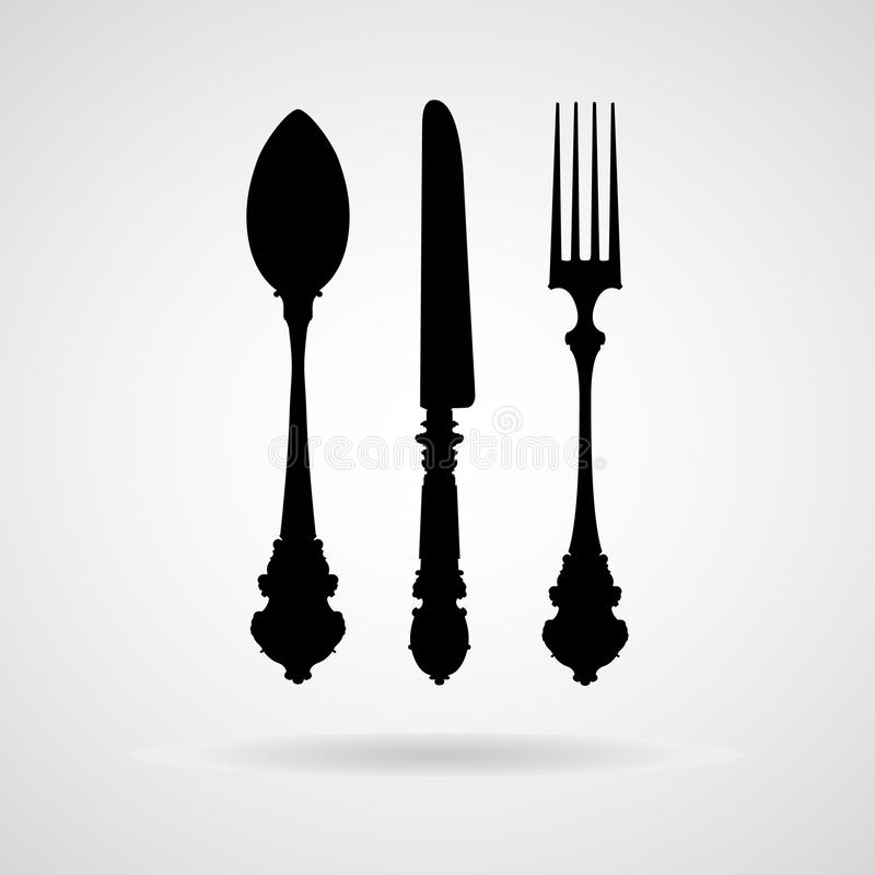 Fork spoon knife vector and icon, EPS10 stock image