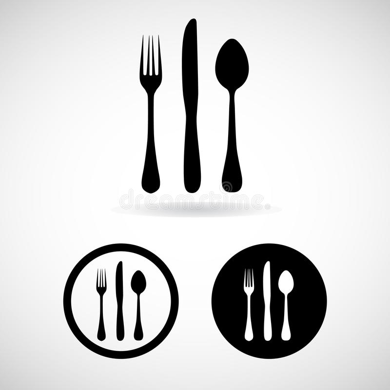 Fork spoon knife vector and icon, EPS10 stock images