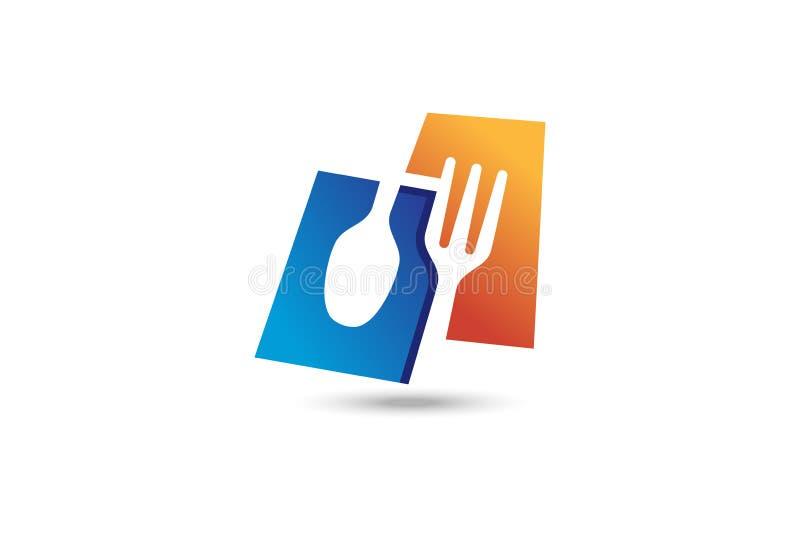 Fork and spoon logo. Modern food symbol royalty free illustration