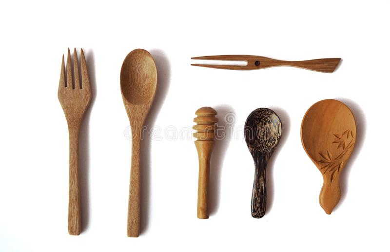 Fork and spoon palm wooden collection royalty free stock image
