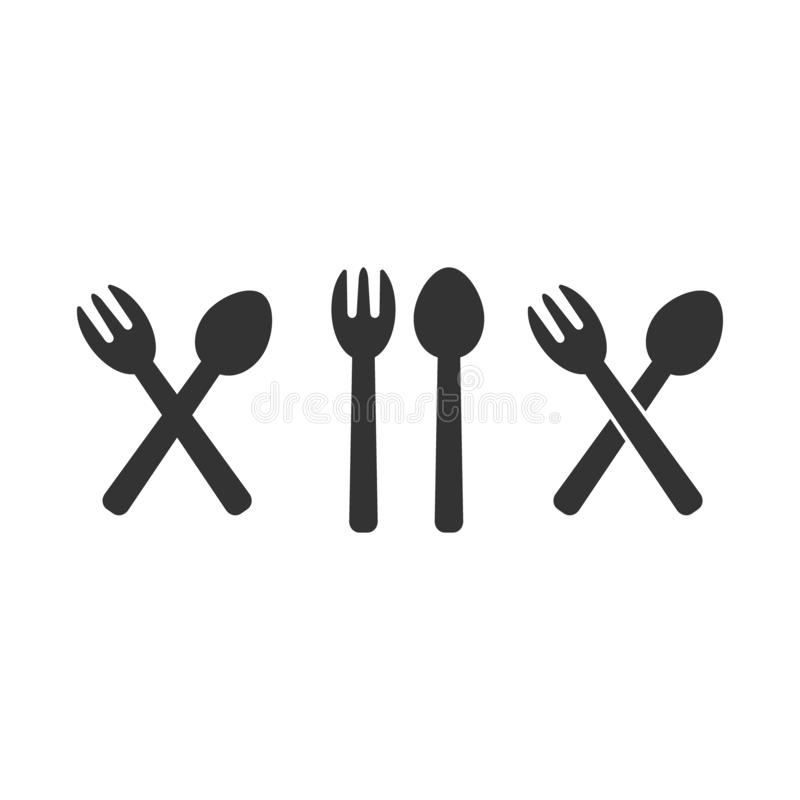 Fork and spoon crossed, diner, restaurant sign. royalty free illustration
