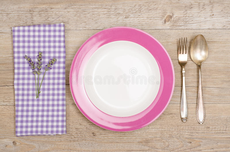 Download Fork And Spoon With Violet Napkin Stock Image - Image: 34271795