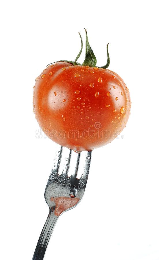 Free Fork Stuck With Tomato Stock Photography - 8235482