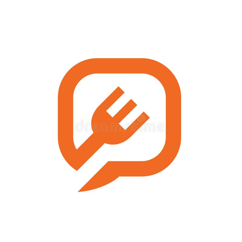 Fork Symbol, Combined With Chat or Speech Bubble, Vector Illustration Design vector illustration
