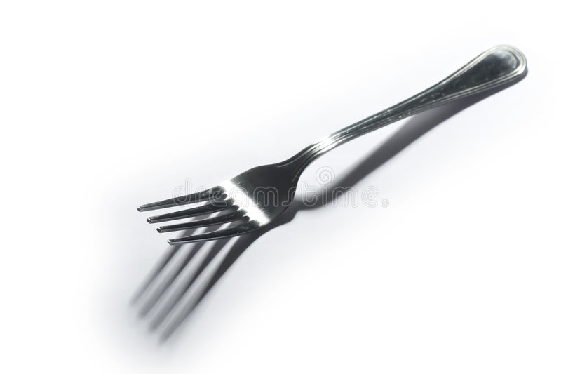Fork on white background stock photo