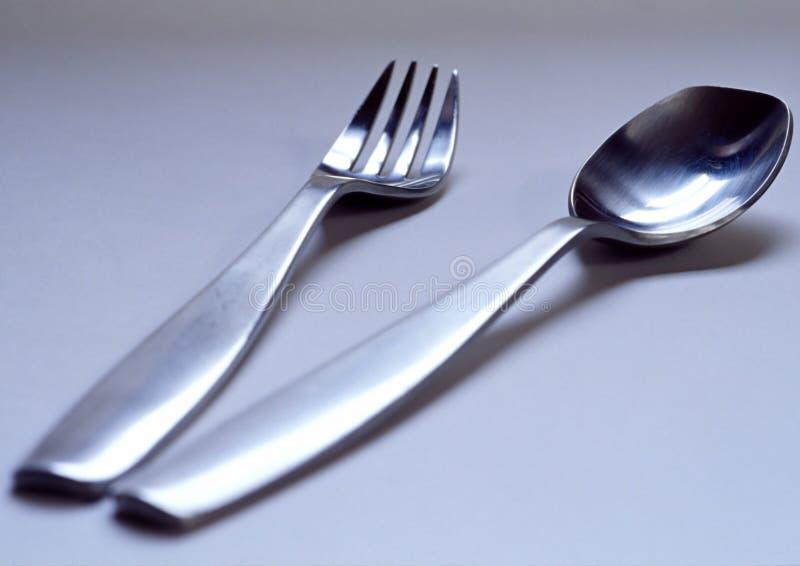 Fork y cuchara fotografía de archivo libre de regalías