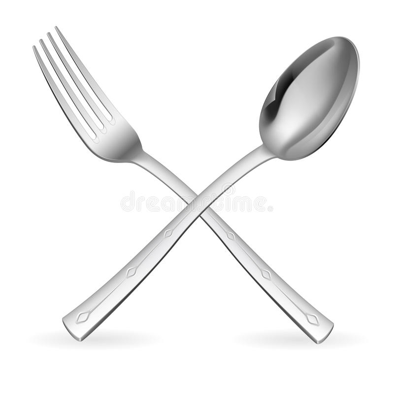 Fork y cuchara cruzadas. libre illustration