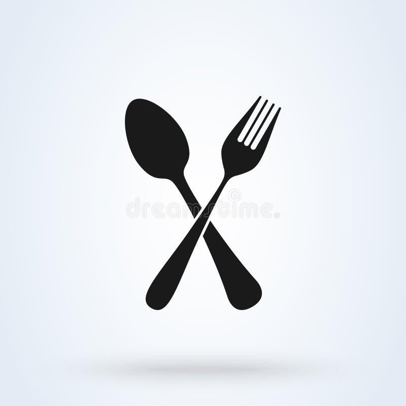 Fork y cuchara cruzadas Icono aislado en el fondo blanco Ilustraci?n del vector stock de ilustración