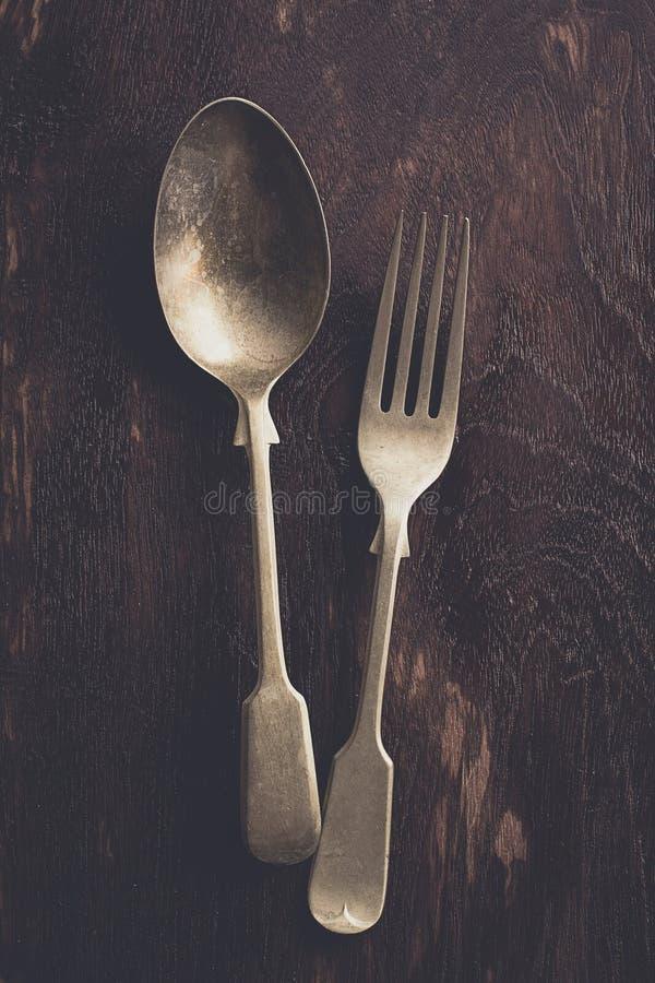 Fork y cuchara del vintage imagen de archivo libre de regalías