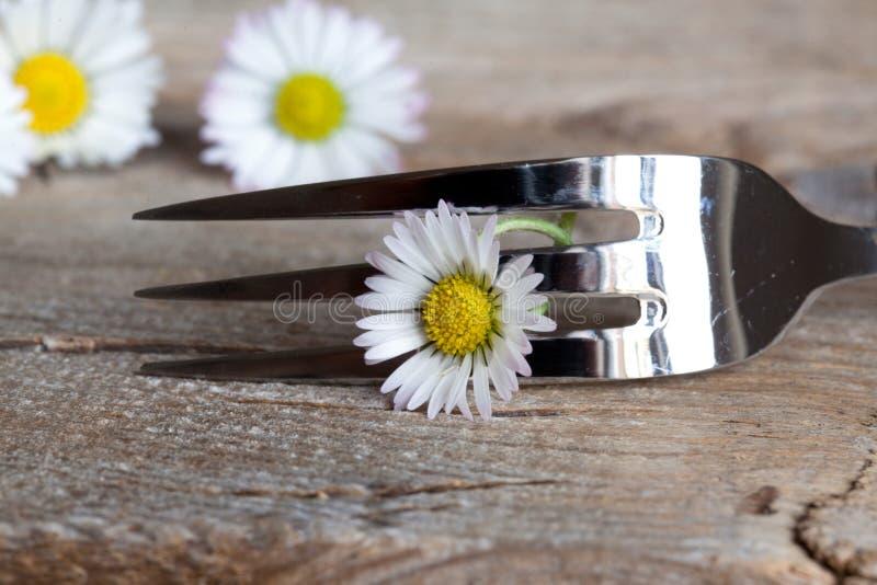 Fork y flor de acero fotos de archivo libres de regalías