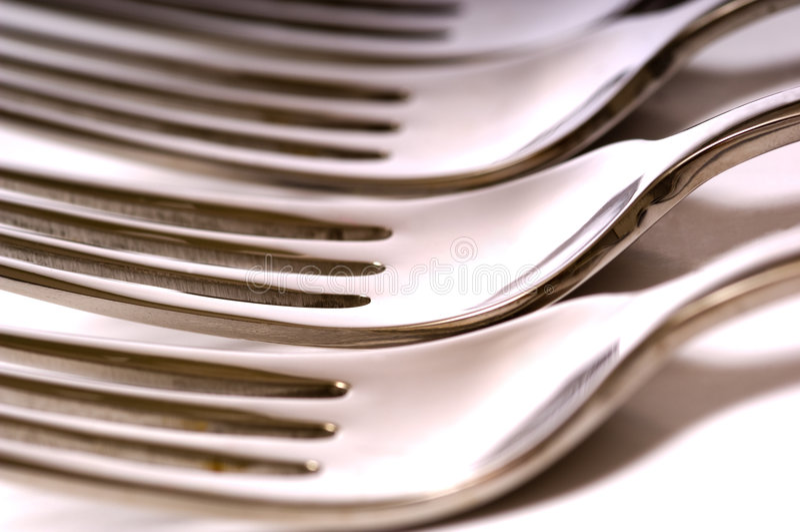 Forkes de la cena foto de archivo