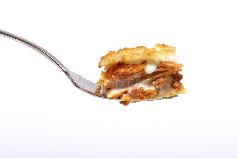 Forkful de lasagne Bolonais photo stock