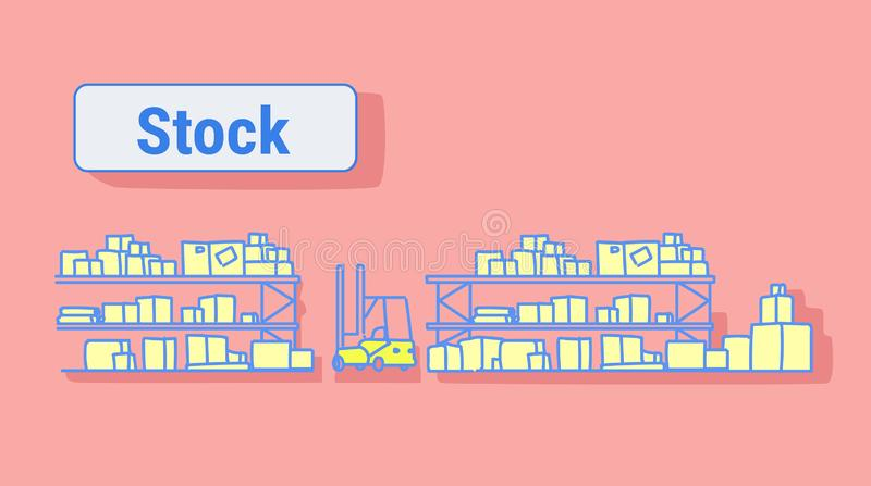 Forklift μεγάλο εσωτερικό σε κενό αποθηκών εμπορευμάτων κανένα λογιστικό ράφι έννοιας αποθεμάτων υπηρεσιών παράδοσης αποθήκευσης  διανυσματική απεικόνιση