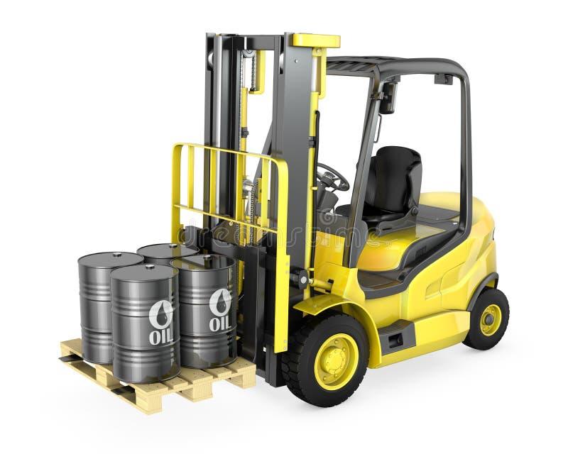 Forklift żółci dźwignięcia cztery nafcianej baryłki ilustracji