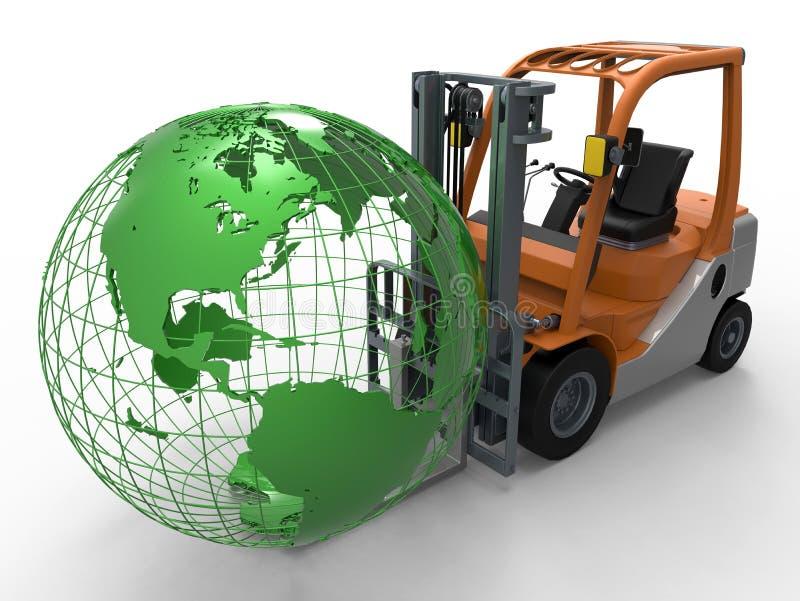 Forklift ανυψωτική γήινη σφαίρα φορτηγών ελεύθερη απεικόνιση δικαιώματος