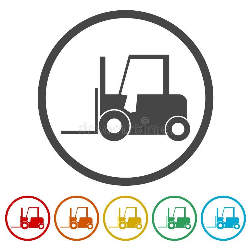 Forklift εικονίδιο, Forklift σκιαγραφία φορτηγών, 6 χρώματα συμπεριλαμβανόμενα ελεύθερη απεικόνιση δικαιώματος
